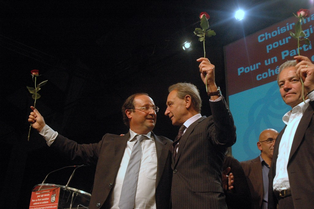 Meeting Delanoë-Hollande, le 16 septembre 2008, à Cergy.